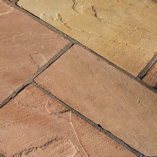 pink sandstone paving