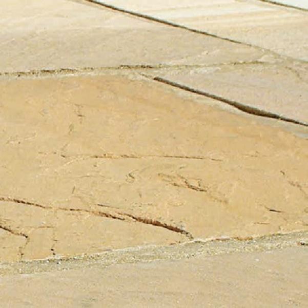 yellow sandstone paving